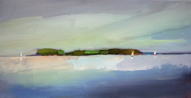 "Claire Bigbee | Alongside Bustin's Island | Oil | 10"" X 20"" 