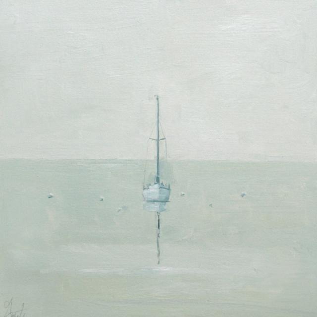 "Ellen Welch Granter | Boat Grid | Oil on Panel | 12"" X 12"" | Sold"
