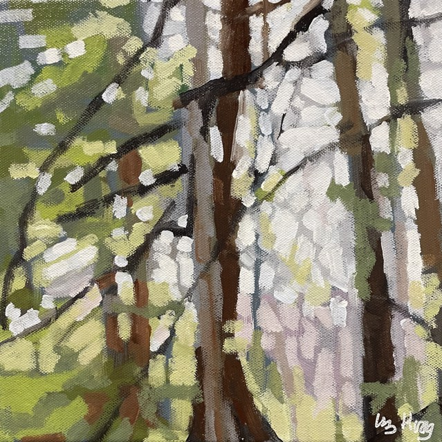 "Liz Hoag | Pine Green | Acrylic on Canvas | 10"" X 10"" | Sold"