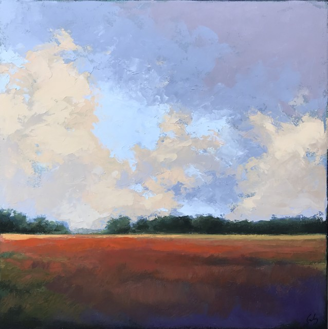 "Margaret Gerding | Red Field | Oil on Canvas | 24"" X 24"" 