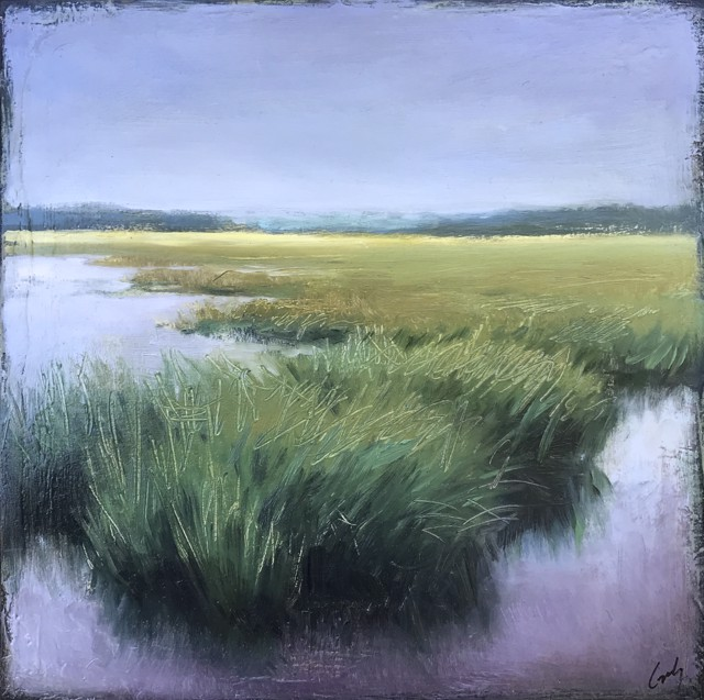 "Margaret Gerding | Study of Marsh Grasses | Oil on Panel | 12"" X 12"" 