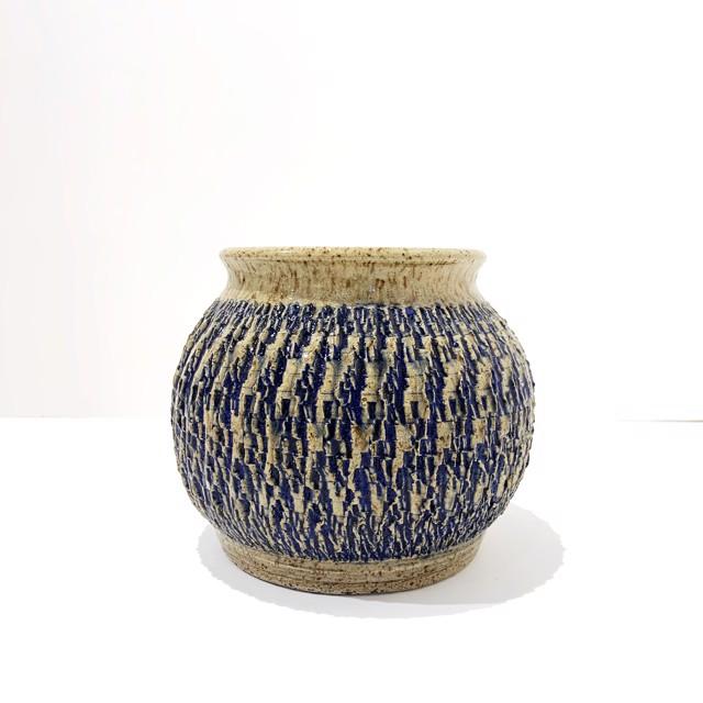 "Richard Winslow | Blue Textured Vase | Ceramic | 5.5"" X 7"" | Sold"