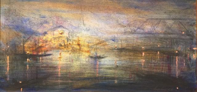 "John LeCours | A Bridge to Maine #4 | Oil on Canvas | 10"" X 20"" | Sold"