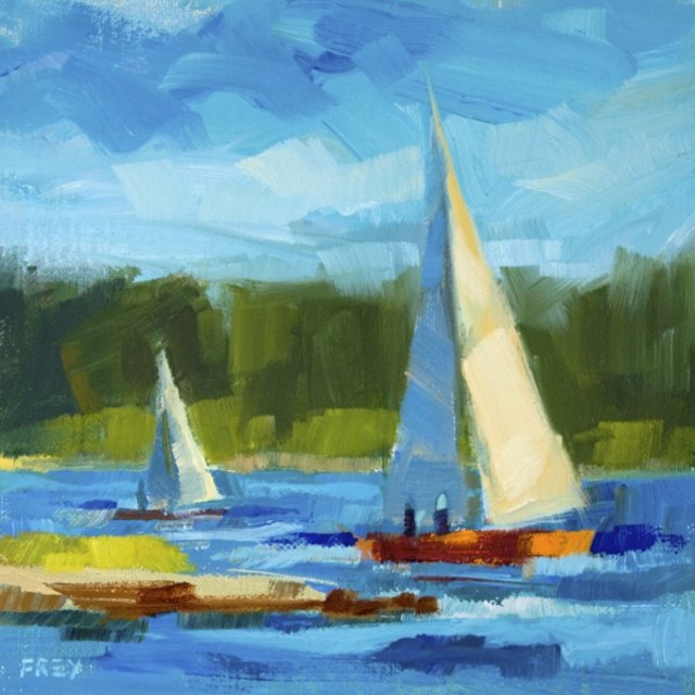"Philip Frey | Sailing Beyond | Oil on Linen Panel | 6"" X 6"" 