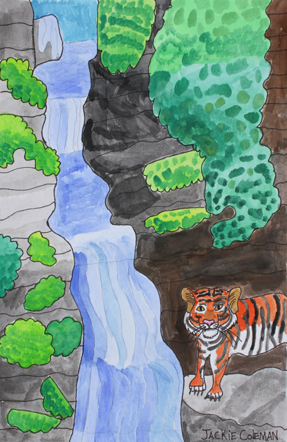 Tiger Near A Waterfall (FRAMED)