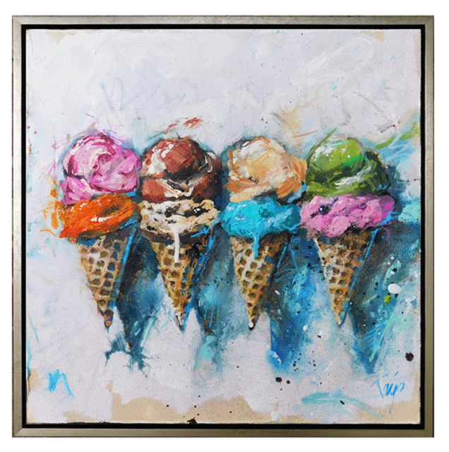 "Trip Park | American Cones | Mixed Media on Canvas | 20"" X 20"" 
