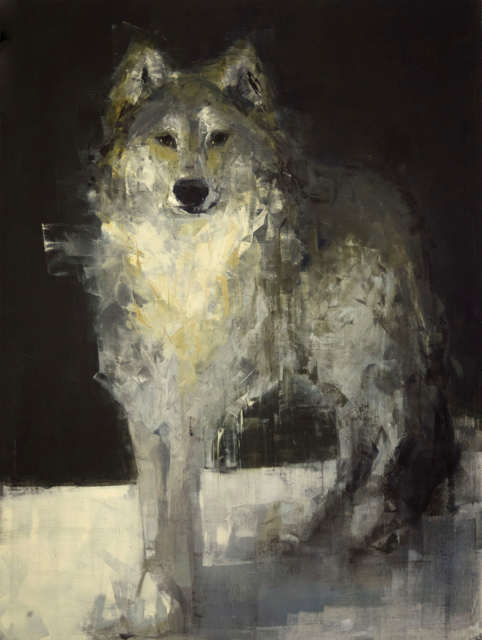 "Rebecca Kinkead | Grey Wolf (Watching) | Oil and Wax on Linen | 40"" X 30"" 