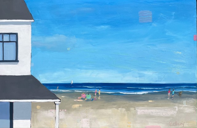 """Bethany Harper Williams   White Beach House   Oil on Canvas   24"""" X 36""""   $2,500.00"""