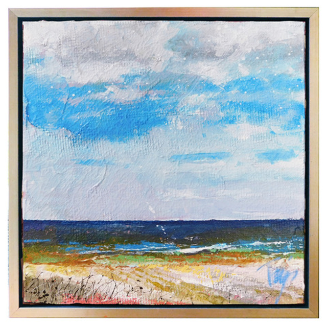 "Trip Park | Blue Jean Beach | Mixed Media on Canvas | 12"" X 12"" 