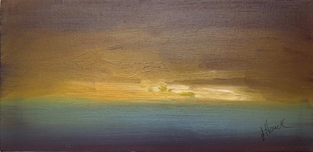 "Julie Houck | A Break in the Sky | Oil on Canvas | 6"" X 12"" | Sold"