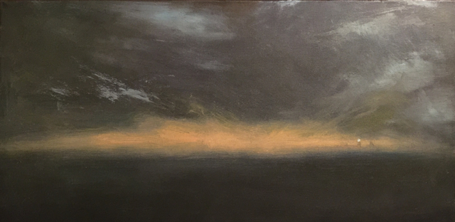 "John LeCours | Goat Island Lighthouse Reverie  | Oil on Canvas | 12"" X 24"" | Sold"
