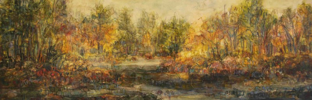 "Susan Wahlrab | Pond | Varnished Watercolor on Archival Claybord | 6"" X 18"" 