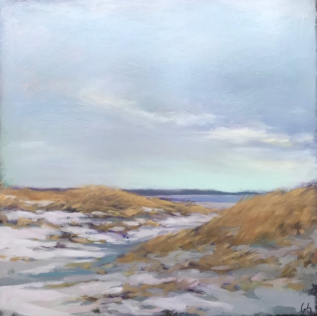 "Margaret Gerding   Dunes at Goose Rocks   Oil on Panel   16"" X 16""   Sold"