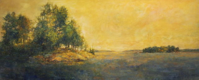 "Susan Wahlrab | Prana | Varnished Watercolor on Archival Claybord | 20"" X 48"" 
