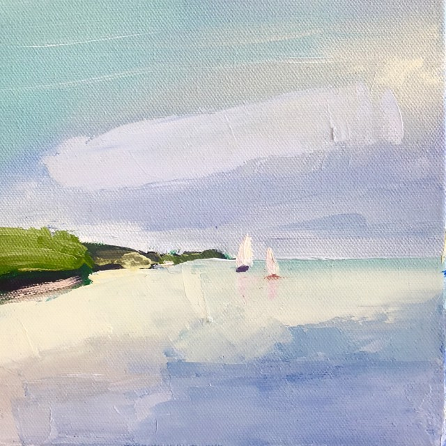 "Claire Bigbee | Sail Away at Casco Bay | Oil on Canvas | 8"" X 8"" 