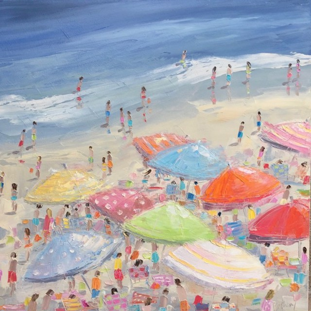 "Bethany Harper Williams | Sun-Kissed Umbrellas | Oil | 24"" X 24"" 