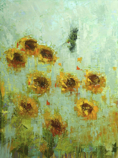 "Rebecca Kinkead | Hummingbird (Sunflowers) | Oil and Wax on Linen | 40"" X 30"" 