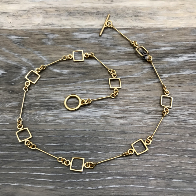 Gold Plated Necklace: Small Link with Squares