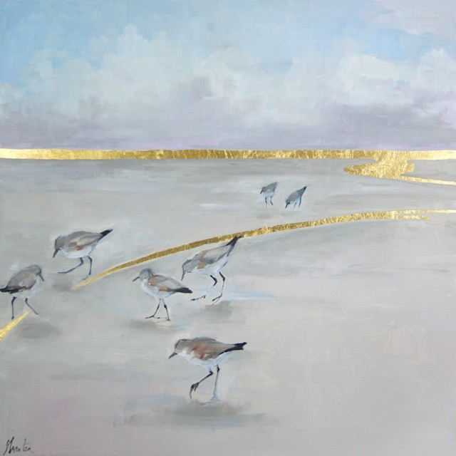 "Ellen Welch Granter | Constellation | oil and gold leaf on panel | 24"" X 24"" 