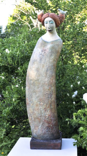 "Elizabeth Ostrander | Bird Tender | Ceramic and Acrylic | 34"" X 12"" 