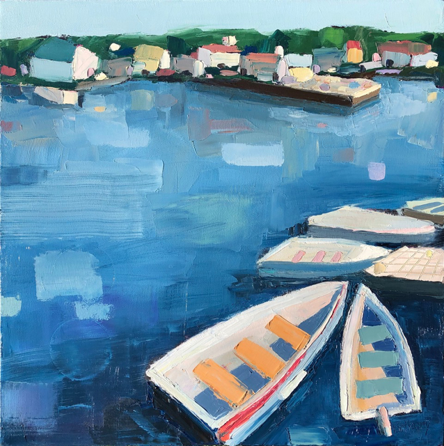 "Bethany Harper Williams | The Dinghy Dock | Oil on Canvas | 25"" X 25"" 