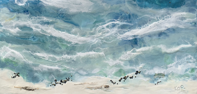 "Kathy Ostrander Roberts | At the Breakwater | Encaustic on Panel | 12"" X 24"" 