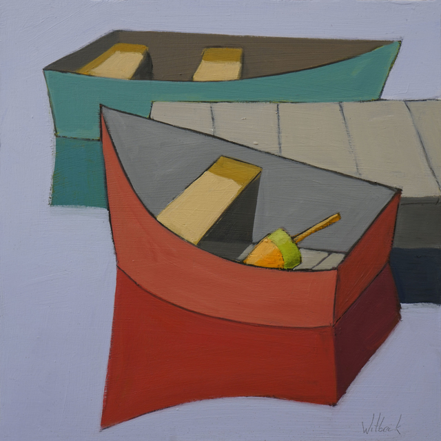 "David Witbeck | Green and Red Dinghy | Oil on Panel | 12"" X 12"" 
