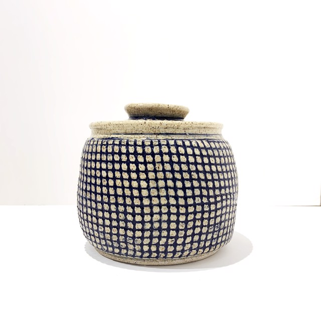 "Richard Winslow | Blue Textured Lidded Pot | Ceramic | 7"" X 7.5"" | $110.00"