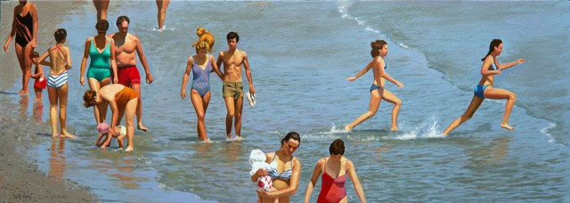 "William B. Hoyt | Beachgoers | Oil on Canvas Stretched on Panel | 10"" X 28"" 
