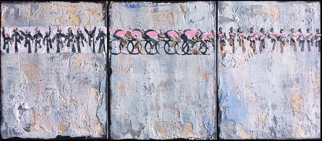 "Heather Blanton | Triforthecure - Triptych | Oil on Canvas | 10"" X 24"" 