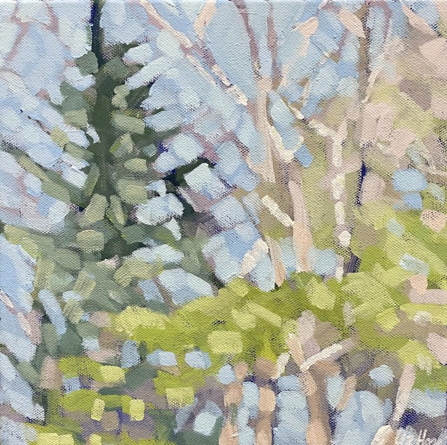 "Liz Hoag | Pine on the Left | Acrylic on Canvas | 10"" X 10"" | Sold"