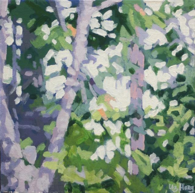 "Liz Hoag | Birches in the Shadow | Acrylic on Canvas | 10"" X 10"" | Sold"