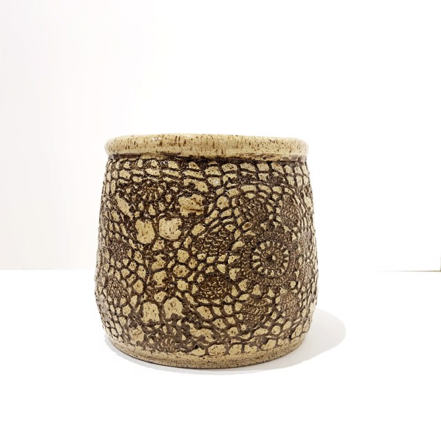 "Richard Winslow | Brown Textured Pot | Ceramic | 7"" X 7.5"" | Sold"