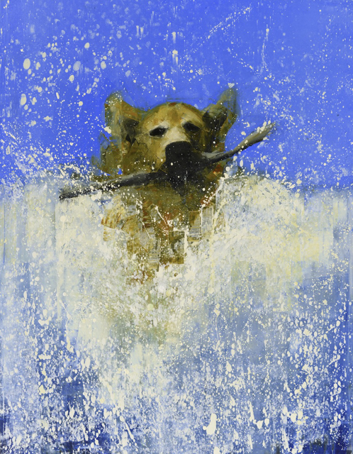 "Rebecca Kinkead | Fetch (Drift Wood) No. 2 | Oil and Wax on Linen | 54"" X 42"" | Sold"