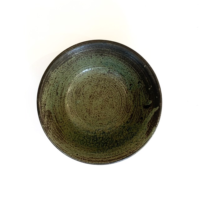 "Richard Winslow | Green Bowl | Ceramic | 3.25"" X 9.5"" | Sold"
