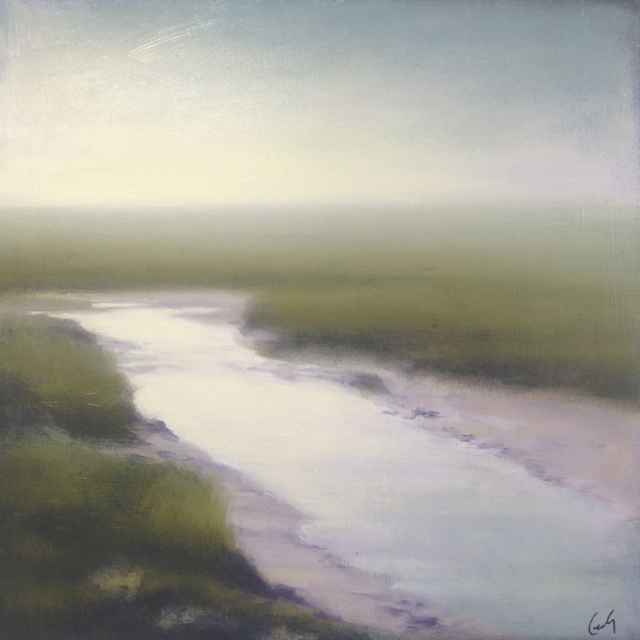 "Margaret Gerding | Marsh in Fog II | Oil on Panel | 16"" X 16"" 