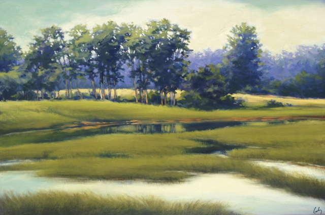 "Margaret Gerding | Spurwink River | Oil on Panel | 24"" X 36"" 