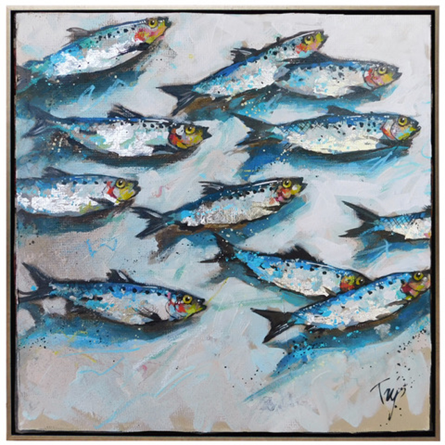 "Trip Park | Stylin' Fishies | Mixed Media on Canvas | 20"" X 20"" 