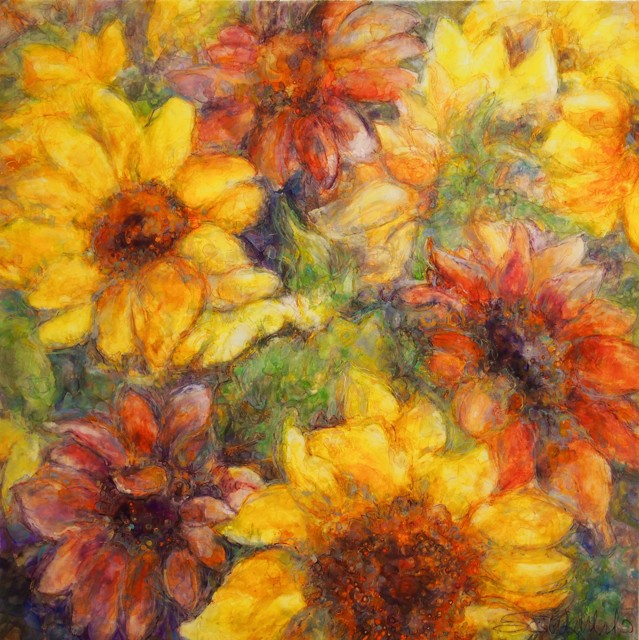 "Susan Wahlrab | Sunflowers | Varnished Watercolor on Archival Clayboard | 24"" X 24"" 