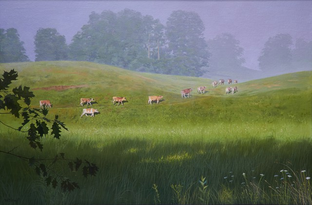 "William B. Hoyt | Heifers Heading Home | Oil on Canvas Stretched on Panel | 24"" X 36"" 