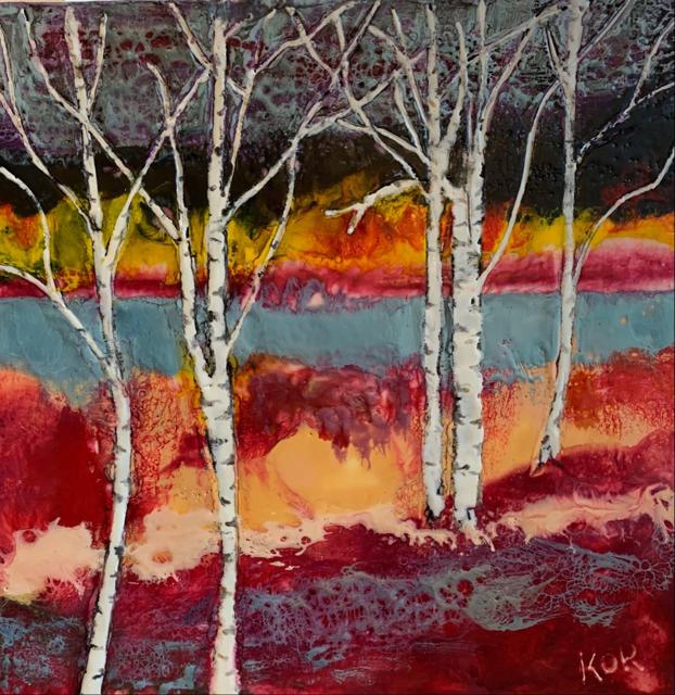 "Kathy Ostrander Roberts | Birches | Encaustic on Birch Panel | 18"" X 18"" | Sold"