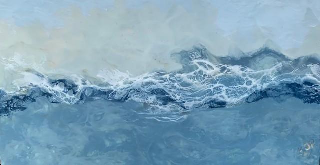 "Kathy Ostrander Roberts | Seafarer's Song | Encaustic on Birch Panel | 20"" X 36"" | Sold"
