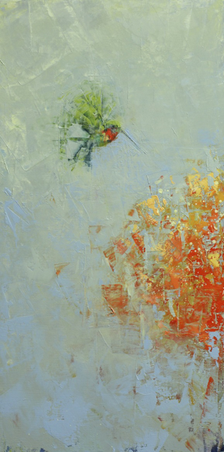 "Rebecca Kinkead | Hummingbird No. 5 | Oil and Wax on Linen | 30"" X 15"" 
