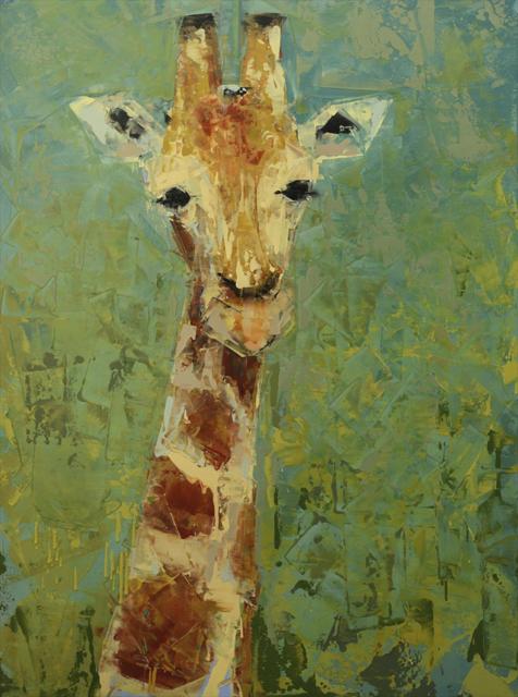 "Rebecca Kinkead | Giraffe | Oil and Wax on Linen | 40"" X 30"" | Sold"