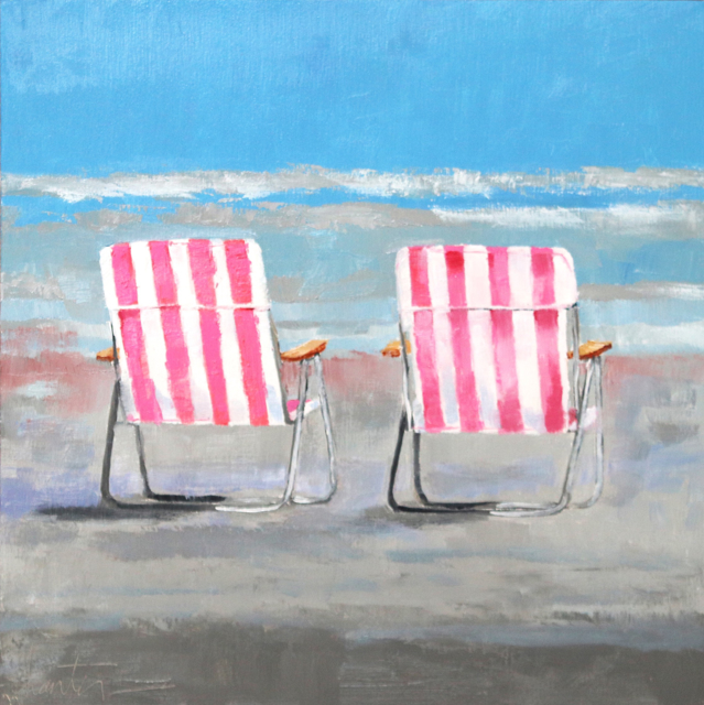 "Ellen Welch Granter | Pink Beach Chairs | Oil on Panel | 12"" X 12"" | Sold"
