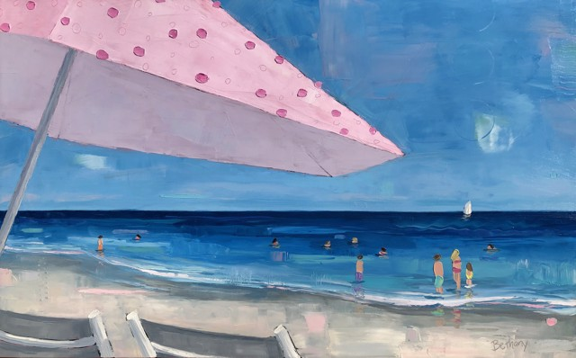 "Bethany Harper Williams | Under the Pink Umbrella | Oil on Canvas | 30"" X 48"" 