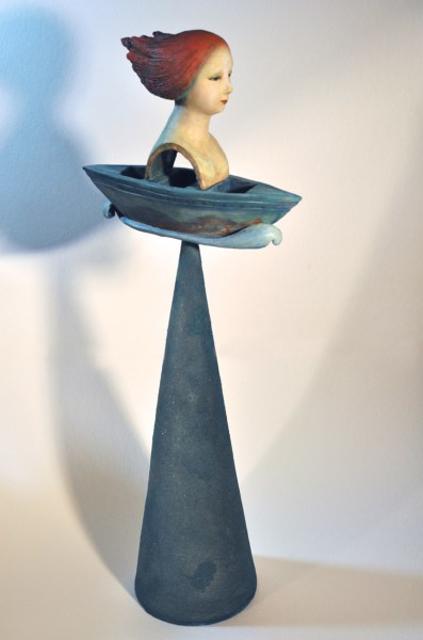 "Elizabeth Ostrander | Sail On | Acrylic on Ceramic, Found Object & Sand | 33"" X 12"" | Sold"