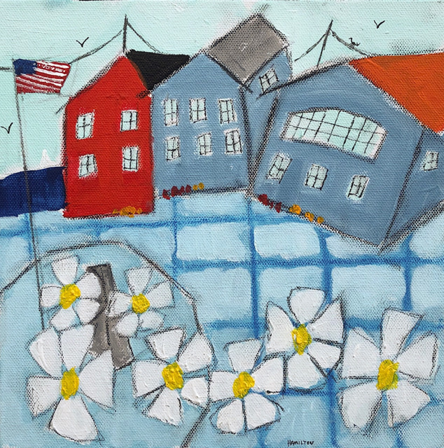 "Rick Hamilton | Dock Square Flowers #1 | Oil on Canvas | 10"" X 10"" 