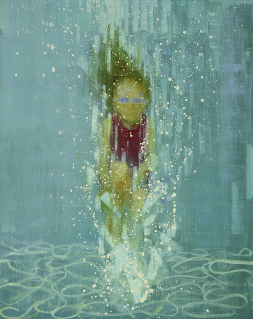 "Rebecca Kinkead | Deep End (Blue Goggles) | Oil and Wax on Linen | 60"" X 48"" | Sold"