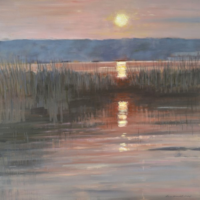 "Anne Burnett-Hidell | Harbor Sunset | Oil | 30"" X 30"" 